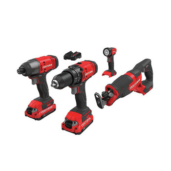 Factory Reconditioned Craftsman CMCK400D2R 20V Lithium-Ion Cordless 4-Tool Combo Kit (2 Ah)