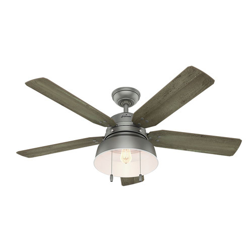Hunter 59308 52 in. Mill Valley Matte Silver Ceiling Fan with Light