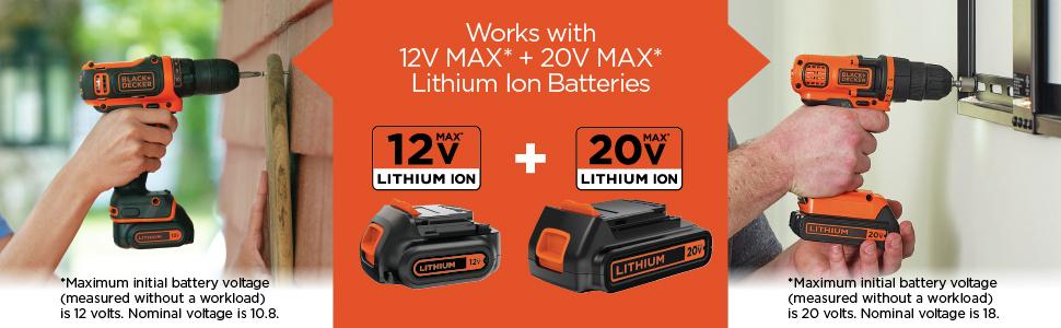 Works With 12V MAX + 20V MAX