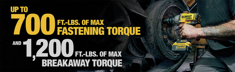 Up to 700 ft.-lbs of max fastening torque and 1,200 ft.-lbs. of max breakaway torque