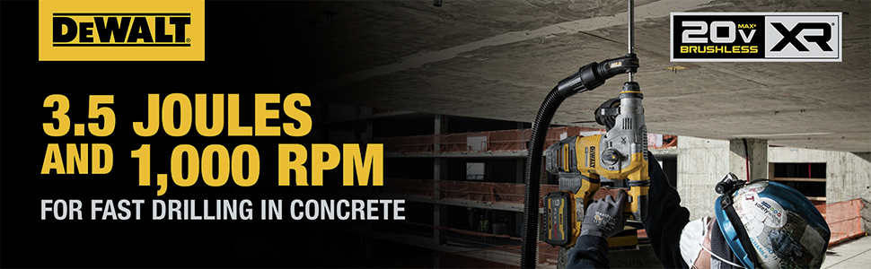 3.5 Joules And 1000 RPM For Fast Drilling In Concrete