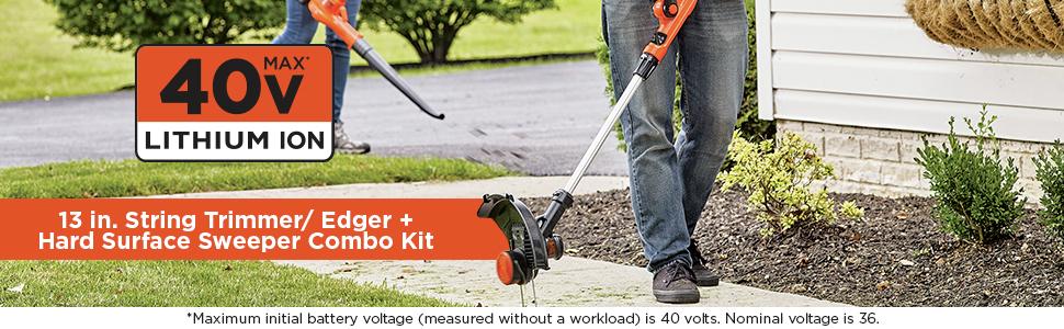 13 in. String Trimmer/Edger + Hard Surface Sweeper Combo Kit
