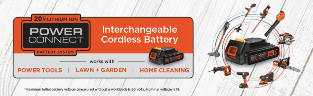 Power connect battery system interchangeable cordless battery