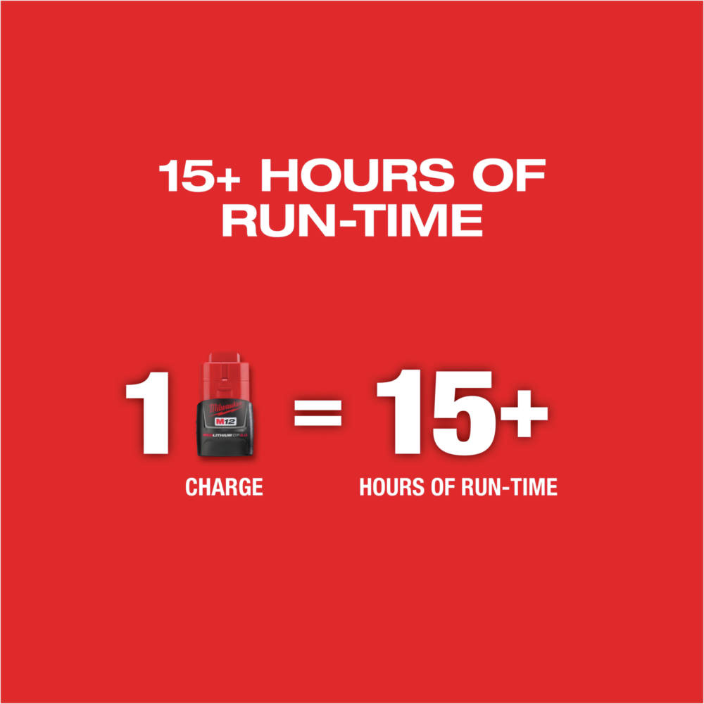 M12 REDLITHIUM CP3.0 battery delivers all day runtime (sold separately)