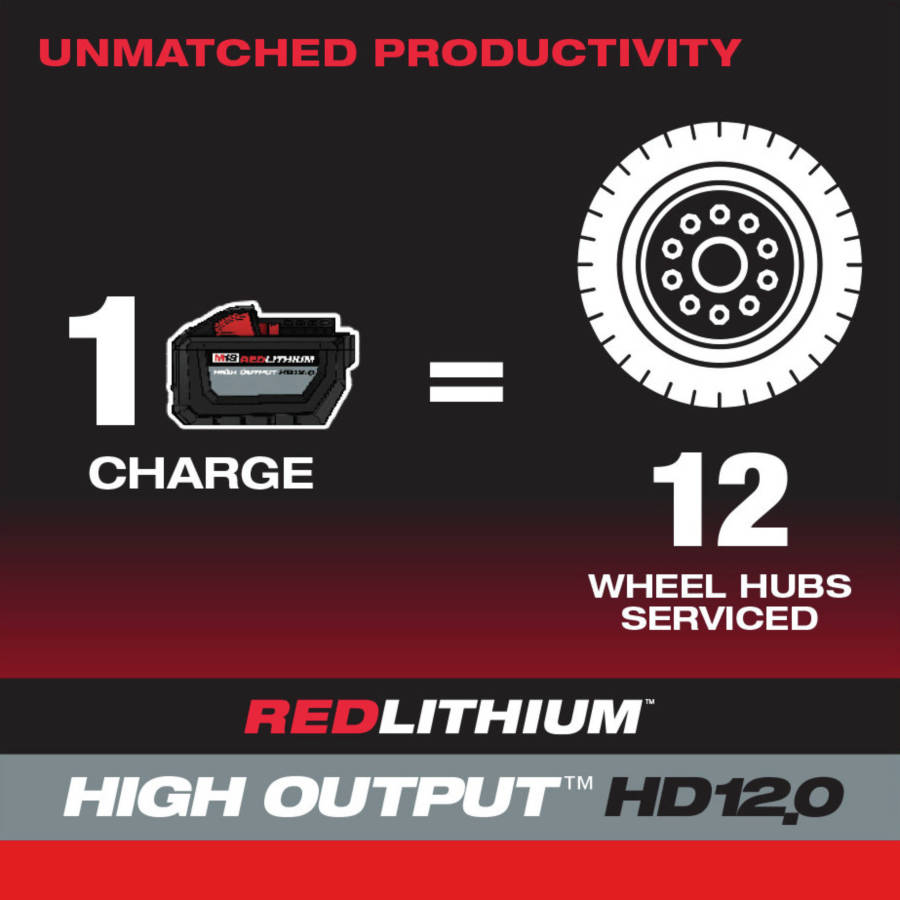 Remove & install up to 120 lug nuts on a single charge (12 Ah battery sold separately)
