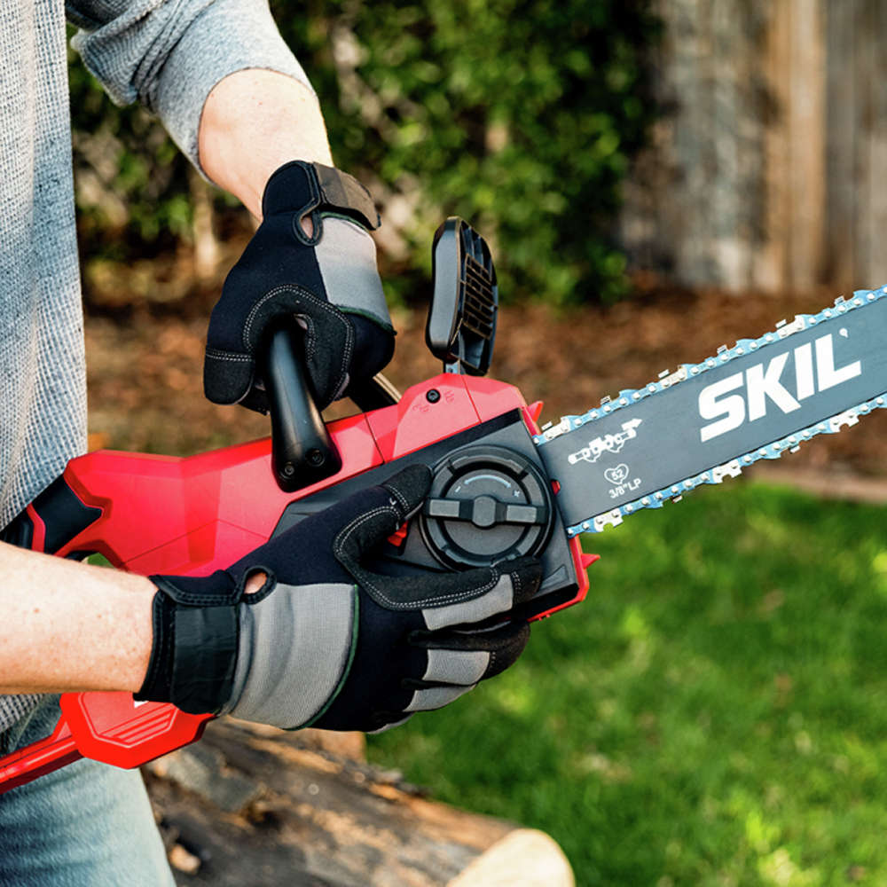 Adjust the chain on this cordless saw with a convenient dial on the side of the tool