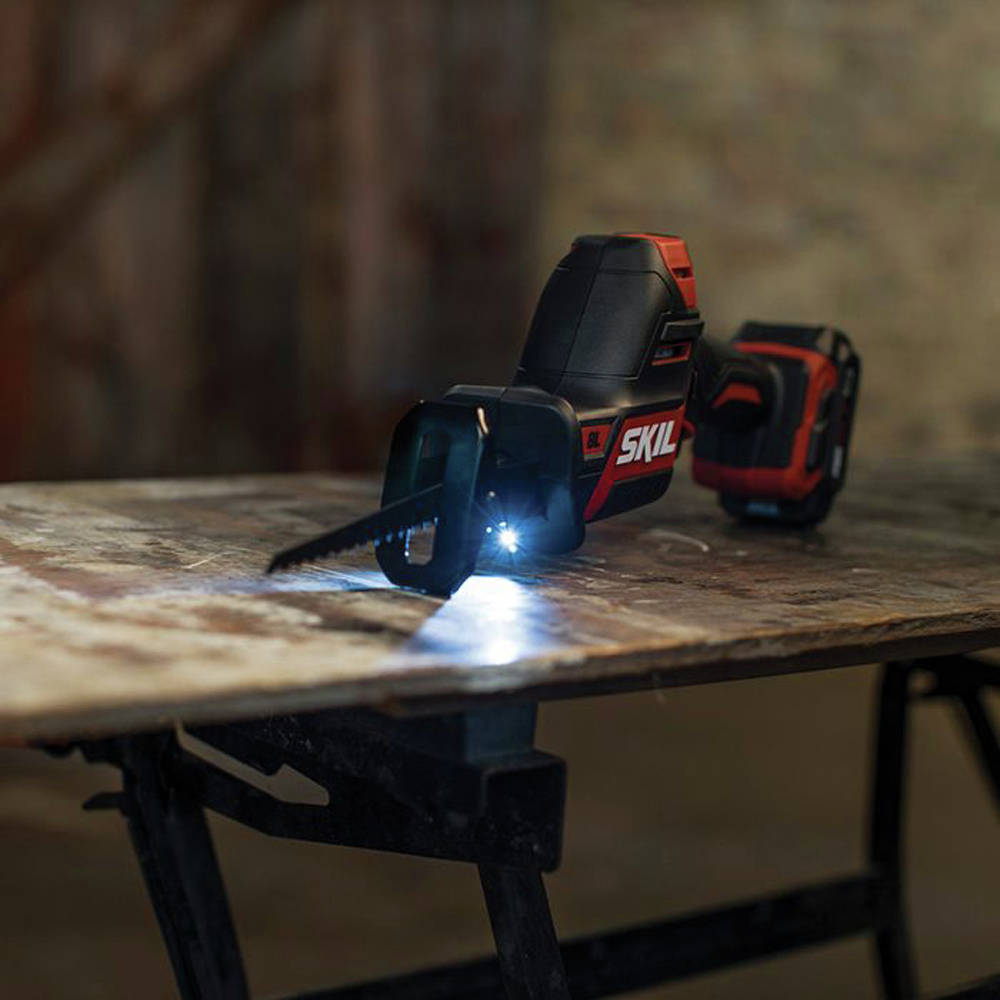 LED light illuminates work area when trigger is pressed, and light remains on 10 seconds after trigger is released