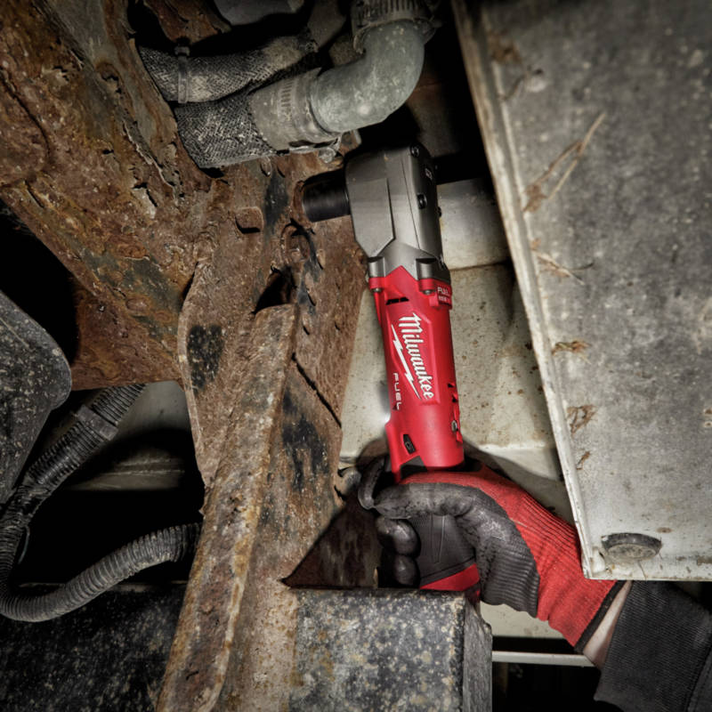 M12 FUEL Lithium-Ion 3/8 in. Cordless Right Angle Impact Wrench with Friction Ring features 4-Mode Drive Control provides up to 220 ft-lbs nut-busting torque