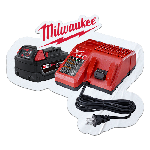 FREE Milwaukee M18 XC 5 Ah Charger Kit when you purchase 2 qualifying Milwaukee M18 Bare Tool