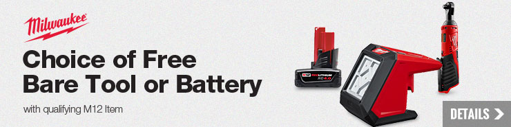Choice of a Free Milwaukee Bare Tool or Battery