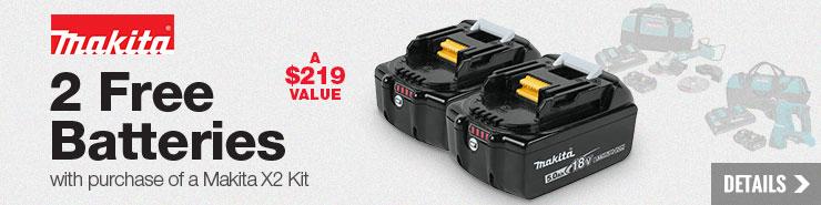 FREE Makita 18V battery (2-pack)