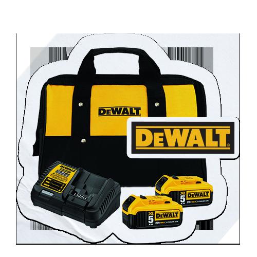 FREE Dewalt 20V MAX 5 Ah Battery (2-Pack) and Charger Kit