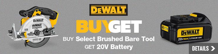 Free DEWALT 20V Battery with select DeWALT Brushed Bare Tools